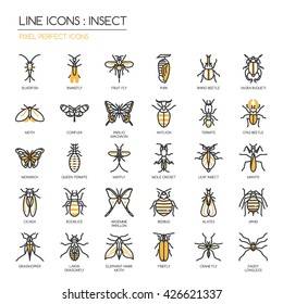 Insect , Thin Line and Pixel Perfect Icons