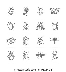 insect vector line icons, minimal pictogram design, editable stroke for any resolution