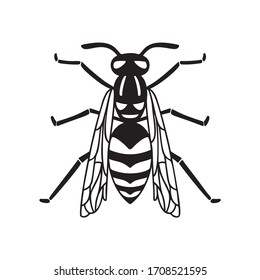 Insect wasp, black wasp silhouette. A stinging insect, an insect pest. Flat design the view from the top. Vector illustration isolated on white background.
