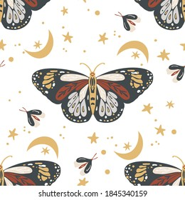 Insects butterfly seamless vector pattern. Mystic moth background. Bohemian vintage mystic graphic. Elegant trendy print.