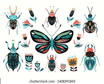Insects collection with different abstract elements isolated on white