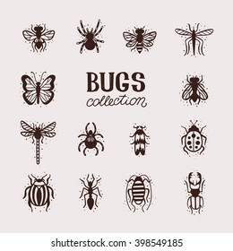 Insects collection kit. Bugs and beetles vector set. Mole, tarantula, bee, spider, fly, dragonfly, mosquito, gnat, butterfly, ladybug, stag-beetle, colorado beetle, ant, cockroach.