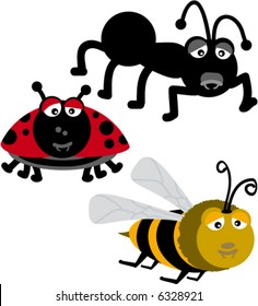 insects collection small (bee, ant and ladybeetle)