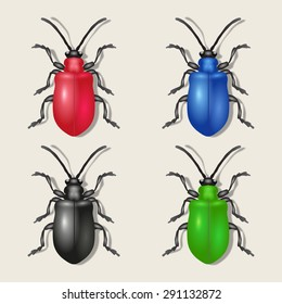 Insects: color bugs. Vector illustration