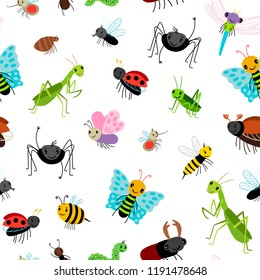Insects colorful pattern with bugs, butterfies and spiders on white background, vector illustration