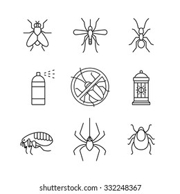 Insects control, anti pest emblem, insecticide, thin line art icons set. Modern black symbols isolated on white for infographics or web use.