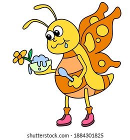insects are feeding on the nectar of flowers, doodle icon image. cartoon caharacter cute doodle draw