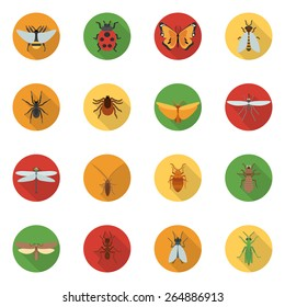 Insects icons flat set with dragonfly beetle woodlouse locust isolated vector illustration