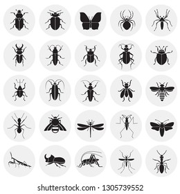 Insects icons set on circles background for graphic and web design, Modern simple vector sign. Internet concept. Trendy symbol for website design web button or mobile app