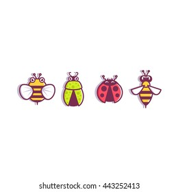 Insects icons web bee, wasp, ladybug, beetle