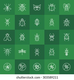 Insects line icons - vector beetle, bug, fly, ant, bee, ladybug and other insect symbols on green background