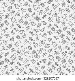Insects linear pattern - vector seamless texture or background with bugs and beetles in thin line style