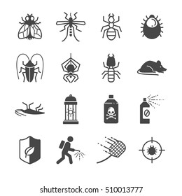 Insects and Pest control icons. Included the icons as bedbug, flea, fleas, mice, fly, cockroach and more.