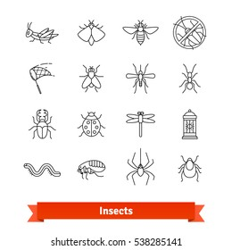 Insects & pest extermination thin line art icons set. Linear style symbols isolated on white.