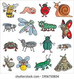 Insects set: bee, worm, ladybug, snail, fly, dragonfly, caterpillar, butterfly, spider, mosquito, beetle, ant, bee, grasshopper, moth Vector illustration