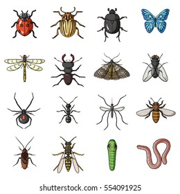 Insects set icons in cartoon style. Big collection of insects vector symbol stock illustration
