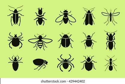 Insects vector icon set. Pest control. Cockroach, termite, fly, bee, mosquito, spider, flea, ant, mite, bug, beetle