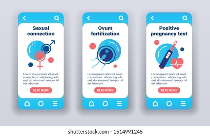 Insemination process on mobile app onboarding screens. Flat icons, sexual connection, ovum fertilization, positive pregnancy test on blue background. Banners for website and mobile kit.