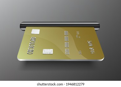 Insert the ATM card and credit card  in the card insert slot for withdrawing money from the bank's ATM,vector for financial concept design,credit card Gold color in slot