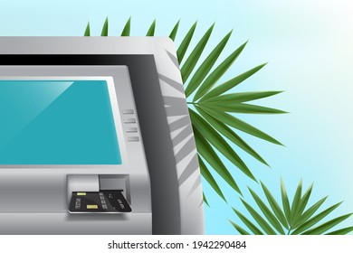 Insert the ATM card into the card slot at the bank ATM,The ATM was placed in the midst of the beach, covered in coconut leaves,vector finance summer concept