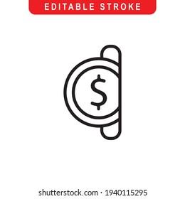 Insert Coin Outline Icon. Insert Coin Line Art Logo. Vector Illustration. Isolated on White Background. Editable Stroke