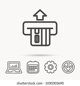 Insert credit card icon. Shopping sign. Bank ATM symbol. Notebook, Calendar and Cogwheel signs. Download arrow web icon. Vector