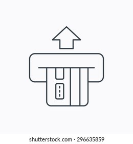 Insert credit card icon. Shopping sign. Bank ATM symbol. Linear outline icon on white background. Vector
