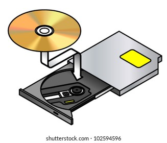 Insert disc. A portable optical drive with its drawer/tray opened and a disc being inserted.