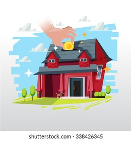 insert money coin into house. mortgage or real state investment - vector illustration