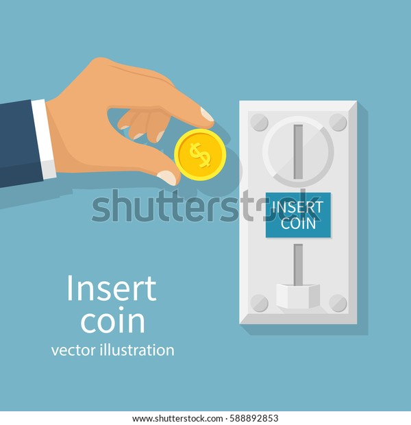 Inserting coin to slot on vending machine. Man holding money in hand. Arcade machine. Vector illustration flat design. Isolated on background.