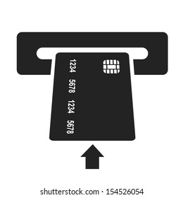 inserting credit card black icon. money withdrawal vector illustration