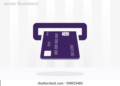 Inserting credit card icon vector