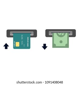 inserts a credit card into ATM and takes the money from the ATM. Vector illustration cashing in of money of the ATM. Money withdrawal in Bankomat. ATM terminal usage concept in flat style.