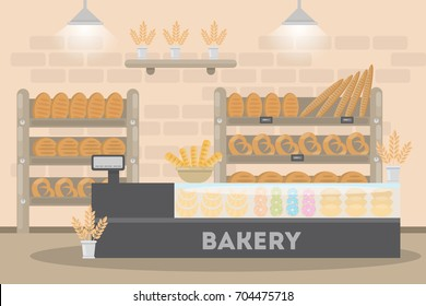 Inside the bakery cafe. Fresh and tasty pastry on the shelf and checkout.