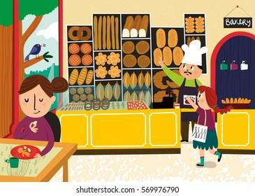 Inside of a bakery shop