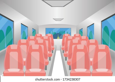 Inside bus design. Passenger bus seats, Bus vector.