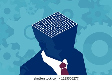 Inside businessman brain maze. Vector of an open head with labyrinth. Psychology concept vector illustration.