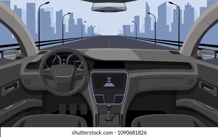 Inside car driver view with rudder, dashboard front panel and highway in windshield cartoon highway vector illustration. Interior of automobile, drive speed car