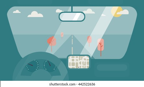 Inside car interior with wheel, speedometer, gps navigator. Vehicle background with view of road in window. Vector