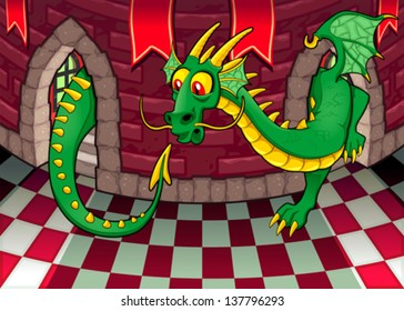 Inside the castle with dragon. Cartoon and vector illustration.