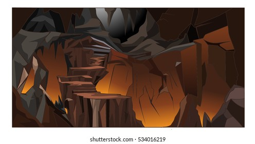 Inside the cavern background. cartoon vector illustration
