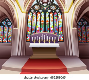 Inside church stained glass window background vector