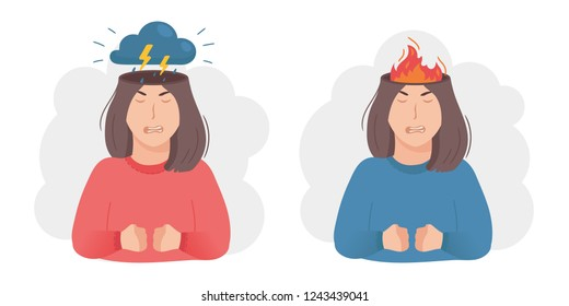Inside woman's head concept. Anger aggression metaphor. Thunderstorm, dark cloud and lightning or burning fire instead of brain. Negative mood and bad temper. Vector illustration isolated on white