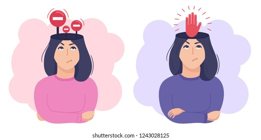 Inside woman's head concept. Mind restrictions and internal boundaries or control and self discipline metaphor. Stop signs and red hand. Vector illustration isolated on white