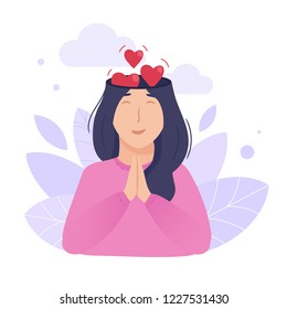 Inside woman's head concept. Peaceful and loving mind. Hearts going out of brain as metaphor of love and happiness. Vector illustration isolated on white