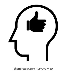 Inside of human head. Thumb Up Finger Hand. Icon Vector Design Illustration.