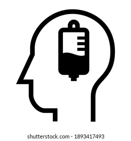 Inside of human head.Injection. Infusion Medication Symbol. Icon Vector Design Illustration.
