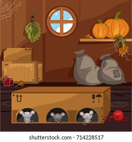 Inside the old farmhouse. The home furnishings. Mouse in a box arranged holes. Vector cartoon close-up illustration.