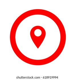 Inside round navigation (Gps) icon, thin red line google map icon - vector illustration