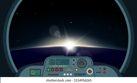 Inside spaceship view. Space futuristic ship interior with control panel with buttons, lights and monitors. View on planet on orbit with sunrise through main window. Spaceship vector illustration.